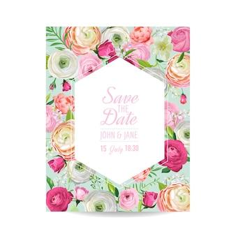 Save the date card con fiori rosa in fiore. invito a nozze, festa di anniversario, modello floreale rsvp. illustrazione vettoriale