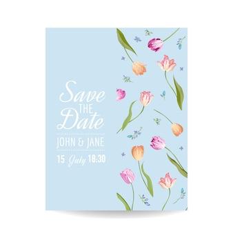 Biglietto salva la data con fiori di tulipani in fiore