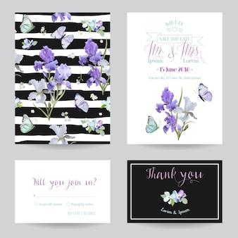 Biglietto salva la data con fiori di iris e farfalle