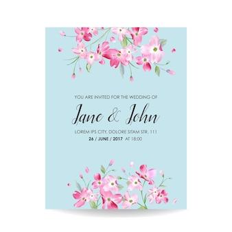 Save the date card con fiori di ciliegio primaverili per matrimoni, inviti, feste, rsvp