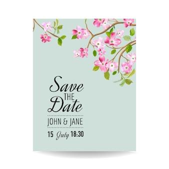 Save the date card con fiori di ciliegio primaverili per il matrimonio