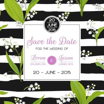 Save the date card con fiori di mughetto primaverile