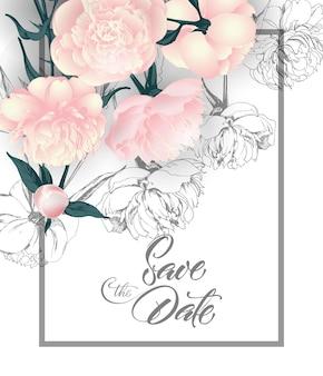 Salva le carte della data con le peonie può essere utilizzato per la carta di invito per la carta di compleanno dell'invito di nozze