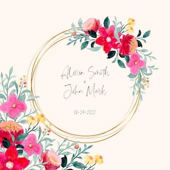 Salva la data. cornice floreale colorata con acquerello