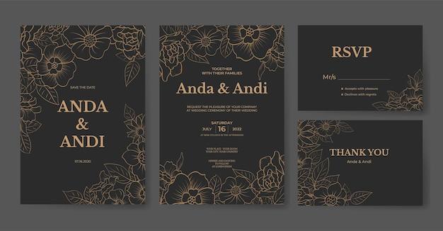 Salva il modello di carta di invito matrimonio fiore elegante data con bella rosa