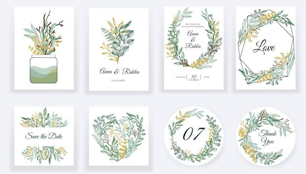 Salvare le carte blu dell'acquerello floreale della data e la raccolta dell'invito