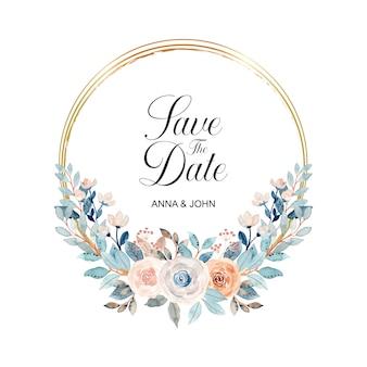 Salva la data. ghirlanda floreale dell'acquerello con foglie blu