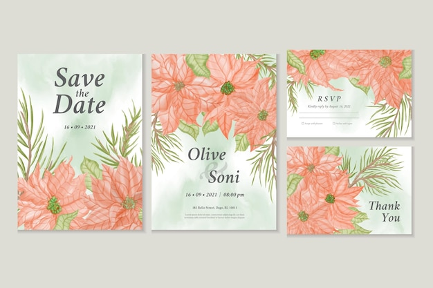 Save the date set di biglietti d'invito con fiore di poinsettia ad acquerello