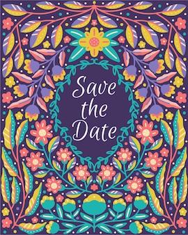 Salvare la citazione dell'iscrizione della data incorniciata nella natura del fiore in fiore dan floreale colorato