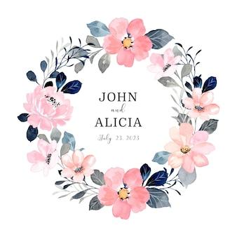 Salva la data corona floreale rosa con acquerello