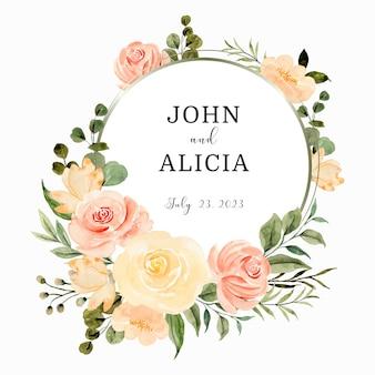 Salva la corona di fiori di rosa con acquerello