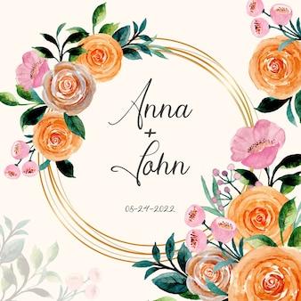 Salva la data. acquerello floreale di rose con cornice dorata