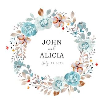 Salva la data corona di fiori rosa blu morbida con acquerello