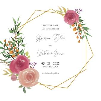 Salva il modello di data con decorazioni floreali di rose dell'acquerello e cornice dorata