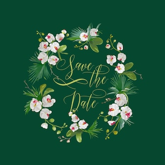 Salva la data carta di fiori di orchidea tropicale, per matrimonio, invito, festa in