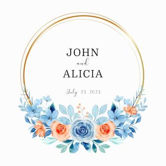 Salva la data acquerello blu arancio rosa fiore con cerchio d'oro