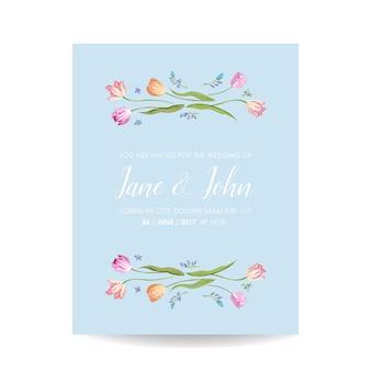 Biglietto acquerello save the date con fiori di tulipani in fiore