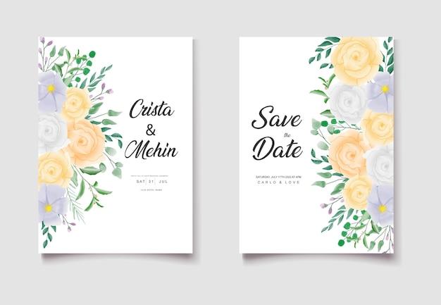 Salva la data set di biglietti d'invito per matrimonio floreale ad acquerello