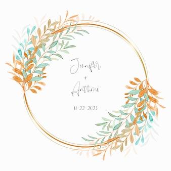 Salva la data corona di foglie acquerello con cerchio dorato with