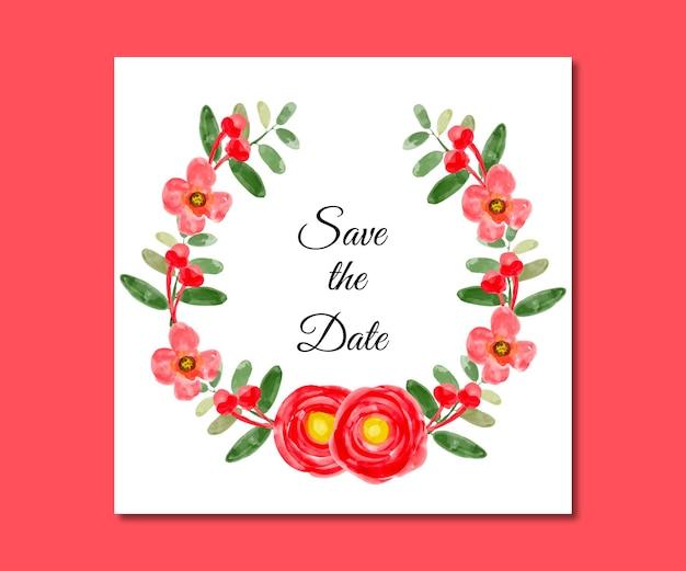 Salva i fiori rossi dell'acquerello della data