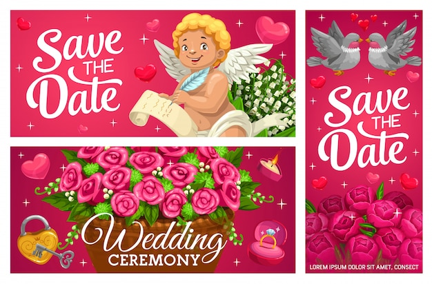 Salva la data banner di nozze, carte di matrimonio