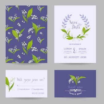 Set di carte di nozze save the date con fiori di giglio in fiore