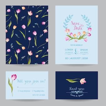 Save the date set di partecipazioni di nozze con fiori di tulipani in fiore