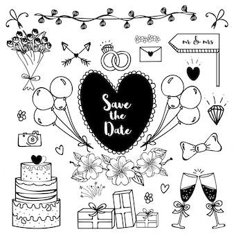 Salva la data, elementi di doodle disegnate a mano da matrimonio.