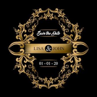 Save the date, modello di carta di invito di nozze con ornamento d'oro