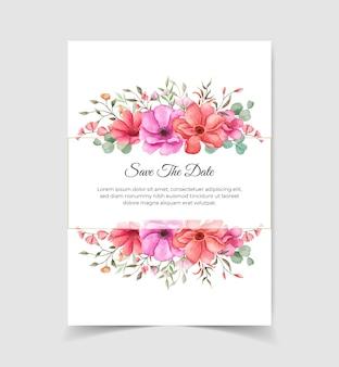 Salvare la carta di invito matrimonio data con composizioni floreali