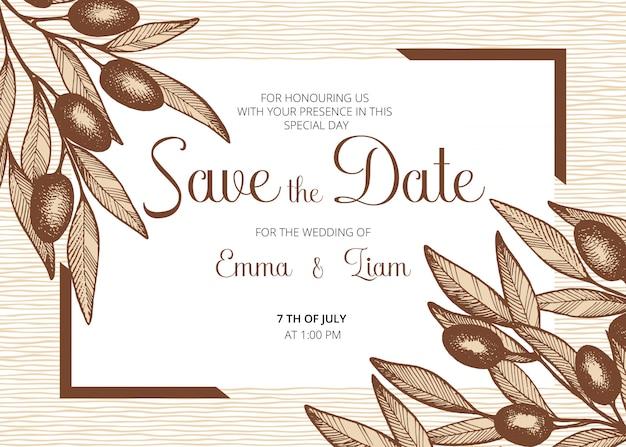 Salva la data, carta di invito a nozze con olive, foglie e rami.