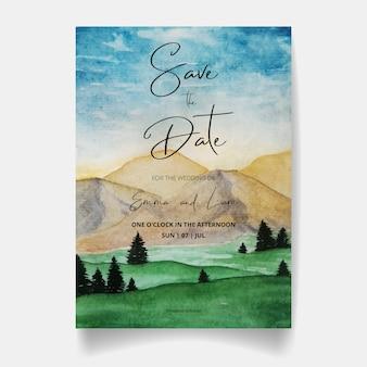 Salva la data, la carta di invito a nozze con montagne e cielo dell'acquerello.
