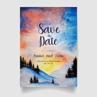 Salva la data, carta di invito a nozze con bosco e cielo ad acquerello.