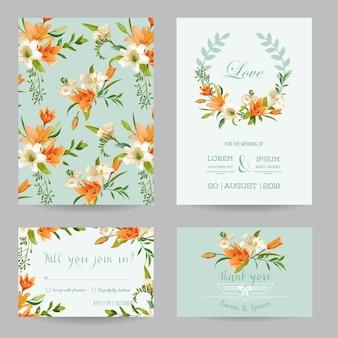 Salva la data - invito a nozze o set di carte di congratulazioni - tema floreale di giglio autunnale