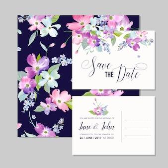 Salva la data modello di invito a nozze con fiori di corniolo primaverile