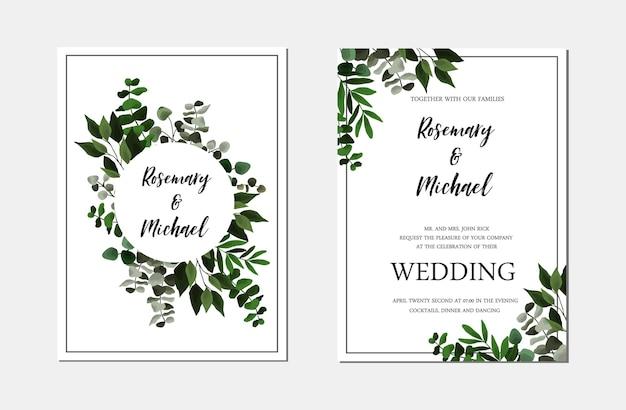 Salva la data di invito a nozze con foglie verdi floreali, eucalipto. bordo modello botanico vettoriale, copertina, invito decorativo con verde, ramo