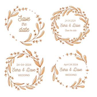 Salva la collezione di ghirlande di fiori monogramma di nozze data, illustrazione vettoriale disegnata a mano. set di cornici floreali rotonde, disegnate a mano per invito alla cerimonia di matrimonio.