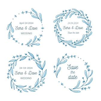 Salva la collezione di ghirlande di fiori monogramma di nozze data, disegnata a mano