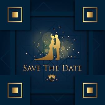 Salva l'appuntamento con gold couple siluet