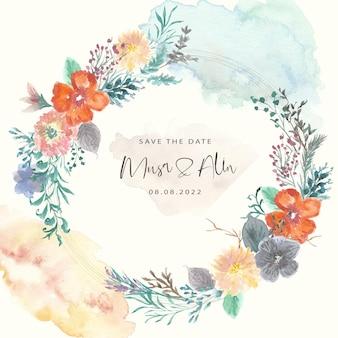Salva la data con la corona dell'acquerello del giardino fiorito vintage