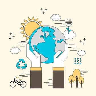Salvare il concetto di terra: mani che tengono la terra in stile linea