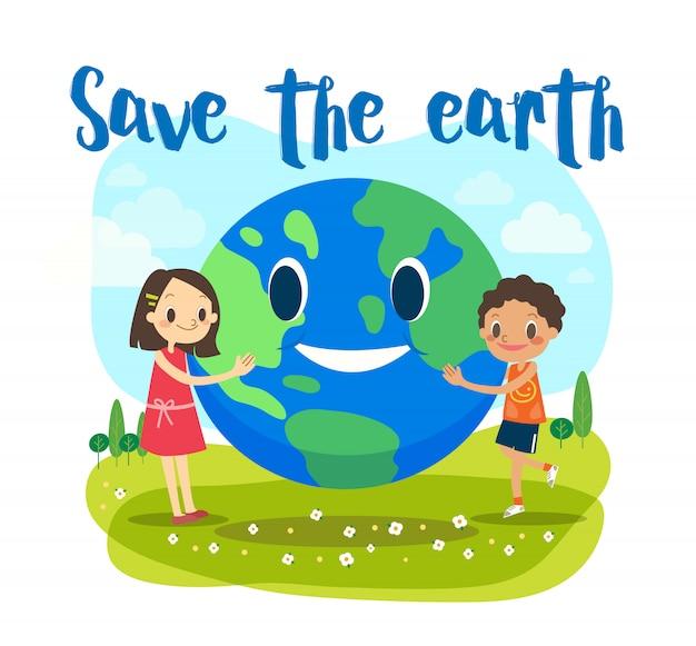 Salvare l'illustrazione del concetto di ecologia terra