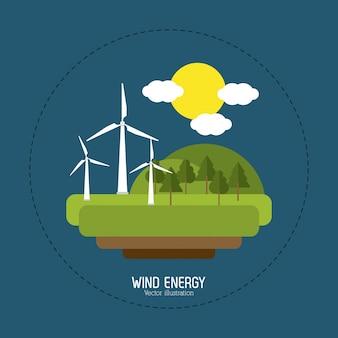 Risparmiare il concetto di energia con design di icone di eco