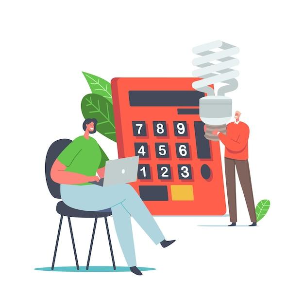 Risparmiare energia concetto ambientale. piccoli personaggi maschili e femminili che contano il vantaggio all'enorme calcolatrice, le persone usano lampade ecologiche a risparmio energetico, donna che lavora al computer portatile. fumetto illustrazione vettoriale