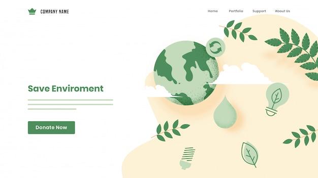 Salva la pagina di destinazione basata sull'ambiente con il globo terrestre, le foglie e la lampadina eco su bianco.