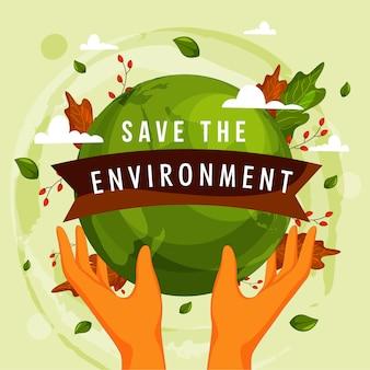 Salvare l'illustrazione del concetto di ambiente