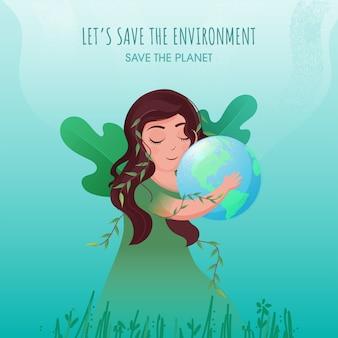 Salvare l'ambiente e il concetto di pianeta con la ragazza che tiene il globo terrestre e foglie verdi su sfondo turchese.