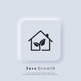 Salva la crescita. ecologia. concetto di ambiente. vettore. icona dell'interfaccia utente. pulsante web dell'interfaccia utente bianca ui ux neumorphic. neumorfismo