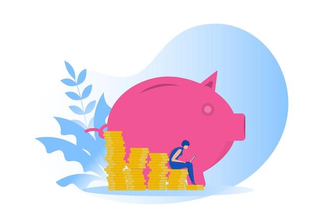 Risparmia denaro, incom con il concetto di ricchezza ed economia