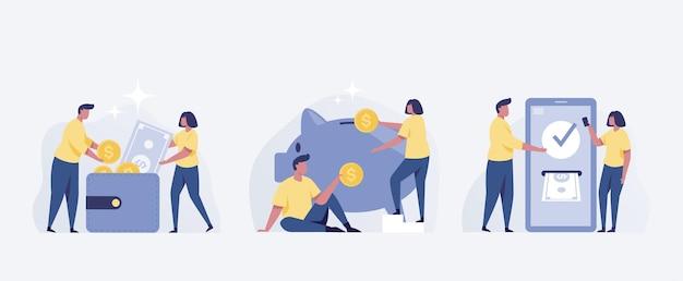 Risparmiare denaro concetto di persone. risparmio di maiale moneta da un dollaro e mobile banking. illustrazione